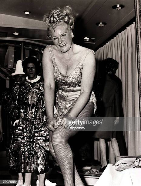 Entertainment/Strength London England 24th June 1970 Joan Rhodes Britain's strongest woman entertains at a London store