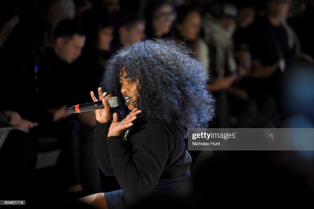 UNIIQU3 entertains the guests during the Chromat collection at New York Fashion Week: The Shows at Gallery 3, Skylight Clarkson Sq on February 10, 2017 in New York City.
