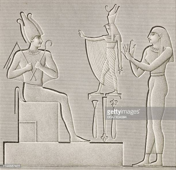 Enthroned goddess Osiris, painted bas-relief, Dendera Temple complex, Egypt, engraving by Pomel after a drawing by Dutertre, from Description de...