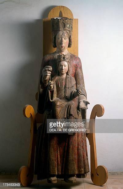 Enthroned Madonna and Child wooden statue Parish Church of St John Baptist Castelli Abruzzo Italy 13th century