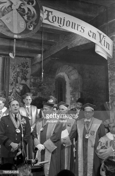 Enthroning of American Army General and Supreme Allied Commander NATO Lyman Lemnitzer into the Confrerie des Chevaliers du Tastevin at Chateau du...