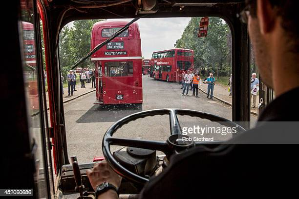 Enthusiast James Treadwell drives bus number RM2771 at a gathering of Routemasters at Finsbury Park to celebrate the 60th Anniversary of the...