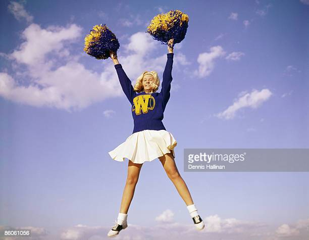 Enthusiastic Cheerleader Jumping