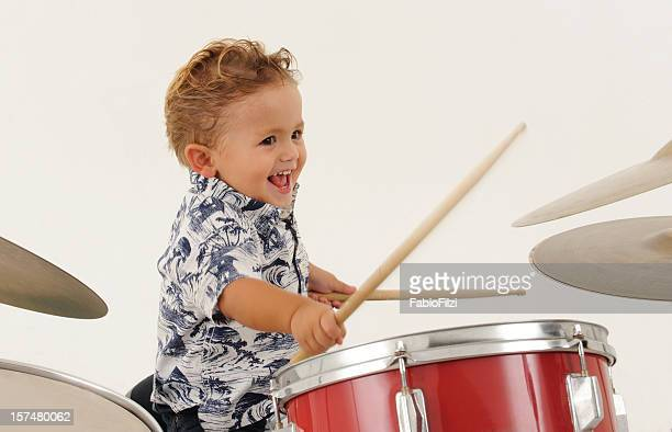 enthusiastic child with drum