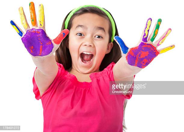 Enthusiastic Little Asian Girl With Painted Hands