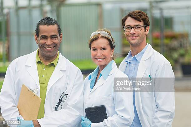 Enthusiastic team of scientists working together