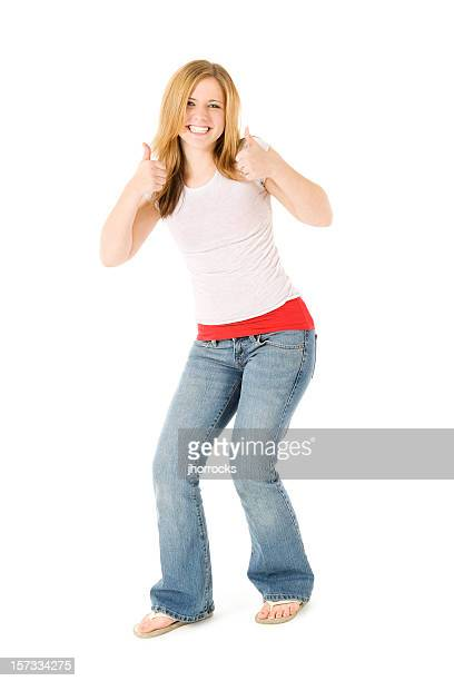 enthusiastic teen - girl wear jeans and flip flops stock photos and pictures