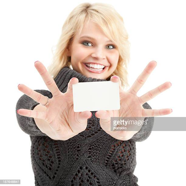 Enthusiastic Young Woman with Blank Gift Card