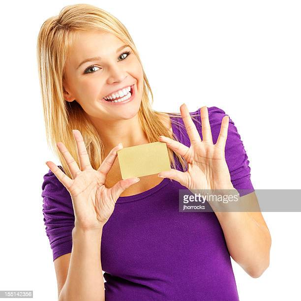Enthusiastic Young Woman with Blank Gold Credit Card
