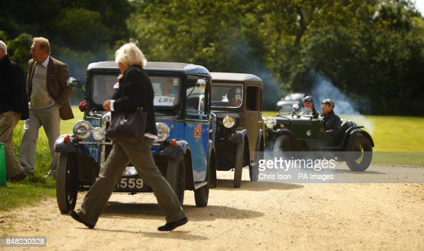 Enthusiasts arrive at the 50th Austin Seven Rally at the National Motor Museum in Beaulieu Hampshire