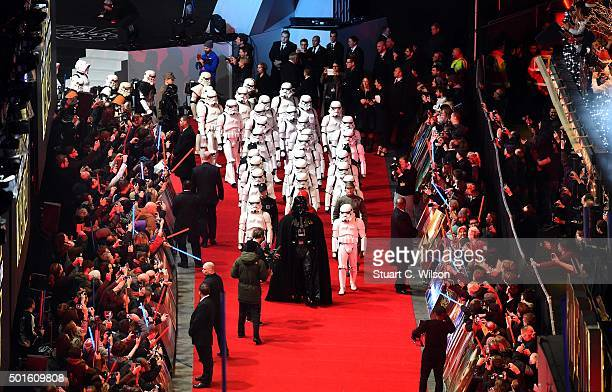 Enthusiasts dressed as characters from 'Star Wars' attend the European Premiere of Star Wars The Force Awakens at Leicester Square on December 16...