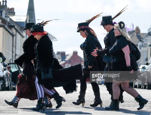 Enthusiasts for Goth culture attend Whitby Gothic Weekend on April 13 2019 in Whitby England The Whitby Goth weekend began in 1994 and takes place...