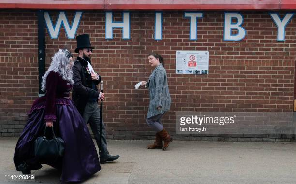 Enthusiasts for Goth culture attend Whitby Gothic Weekend on April 13, 2019 in Whitby, England. The Whitby Goth weekend began in 1994 and takes place...