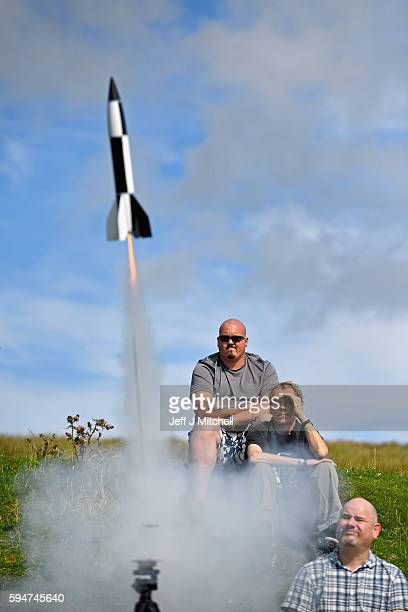 Enthusiasts launch a rocket as they gather for International Rocket Week on August 24 2016 in Largs Scotland The IRW 2016 marks the 30th year of the...