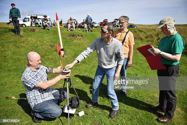 Enthusiasts prepare launch rockets as they gather for International Rocket Week on August 24 2016 in Largs Scotland The IRW 2016 marks the 30th year...