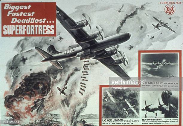 Entitled 'Biggest Fastest Deadliest�Superfortress' the US Army Air Force poster extols the virtues of the Boeing B29 Superfortress heavy bomber 1944...