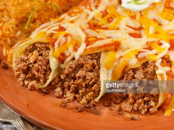 entomadas or beef enchiladas - ground beef stock pictures, royalty-free photos & images