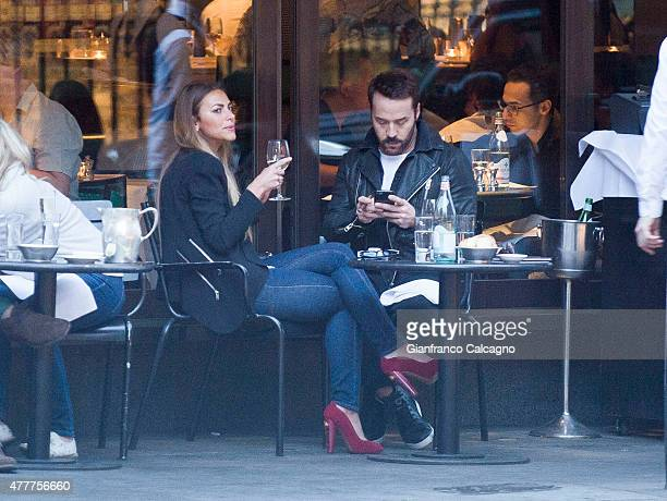 Entourage' actor Jeremy Piven is pictured on a night out at a London restaurant with a new mystery brunette on June 14, 2015 in London, England. The...