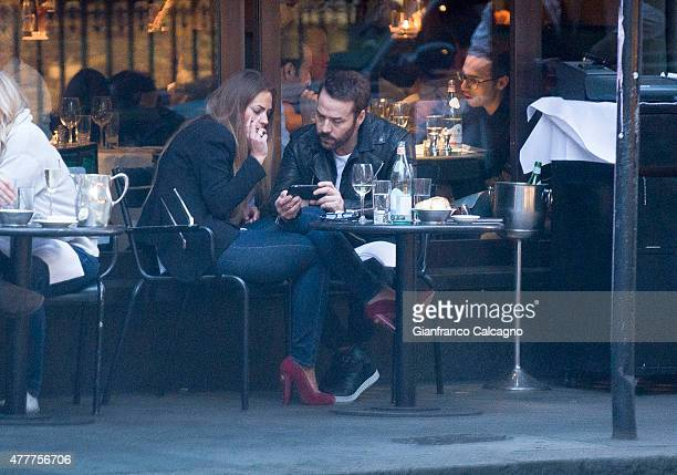 'Entourage' actor Jeremy Piven is pictured on a night out at a London restaurant with a new mystery brunette on June 14 2015 in London England The...
