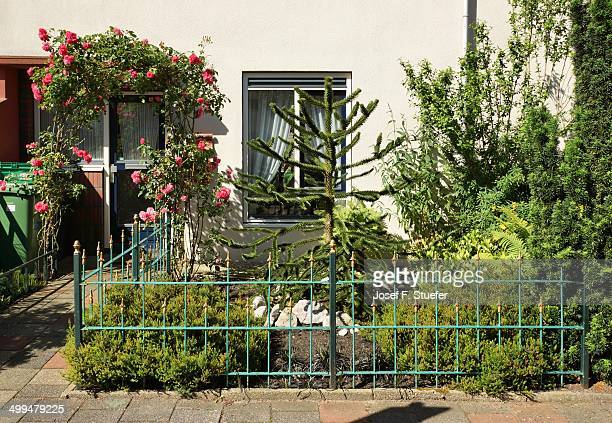 Entrance and front yard of a Dutch family home in Delft