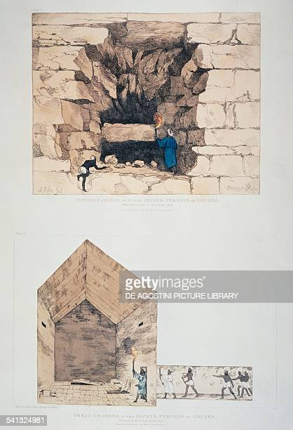 Entrance and great chamber of Chephren's pyramid in Giza drawing by Giovanni Battista Belzoni from Narrative of the Operations and Recent Discoveries...