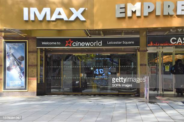 Entrance at Cineworld Empire on Leicester square which has recently been closed indefinitely While cinemas in the UK have reopened with limited...