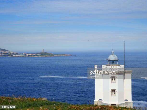 Entrance between lighthouses to the Ria de la Coruña