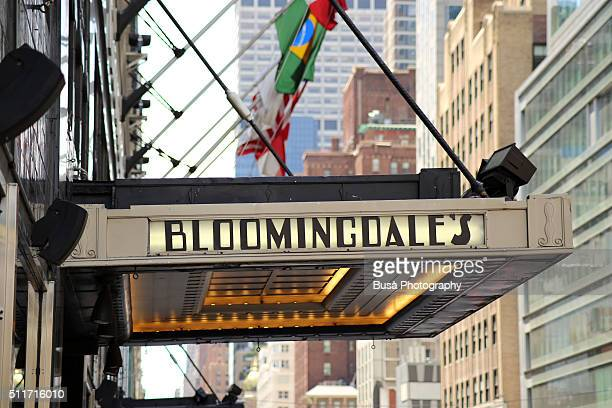 Entrance canopy of the original Bloomingdale's in Midtown Manhattan, at 1000 3rd Avenue, 59th Street and Lexington Avenue, New York.
