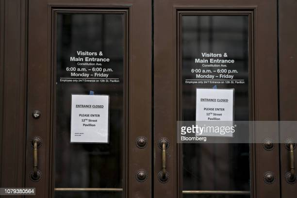 Entrance Closed signs are posted at the visitors entrance of the Internal Revenue Service headquarters in Washington DC US on Tuesday Jan 8 2019 The...