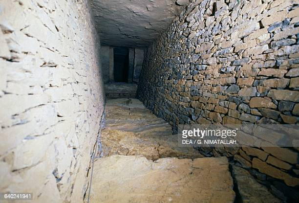 Entrance corridor to the tholos known as Cueva de Romeral Antequera Andalusia Spain Neolithic