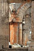 Entrance door to the Church of Saint Simeon Stylites, Syria.