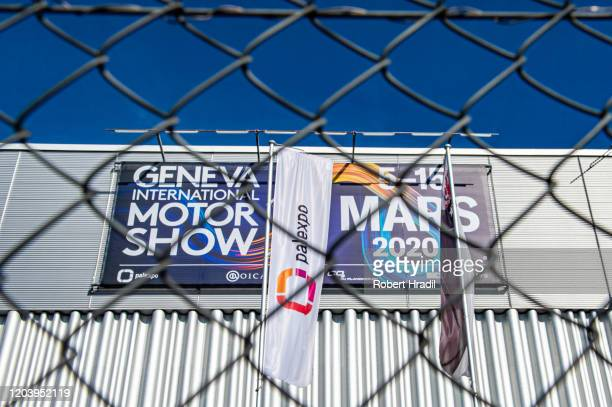 Entrance doors will remain closed after cancellation of the Geneva Auto Show on February 28 2020 in Geneva Switzerland Swiss authorities announced...