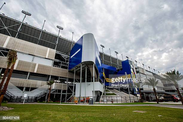 Entrance gate at the newly renovated staium granstands at Daytona International Speedway on January 10 2016 in Daytona Beach Florida