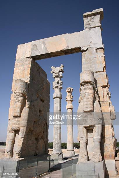 entrance gate in ancient persepolis unesco site iran - persepolis stock pictures, royalty-free photos & images