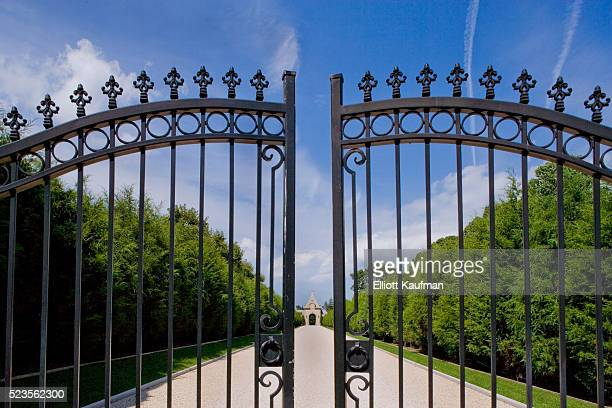 Entrance gate of large early 20th century estate that has been changed into a hotel