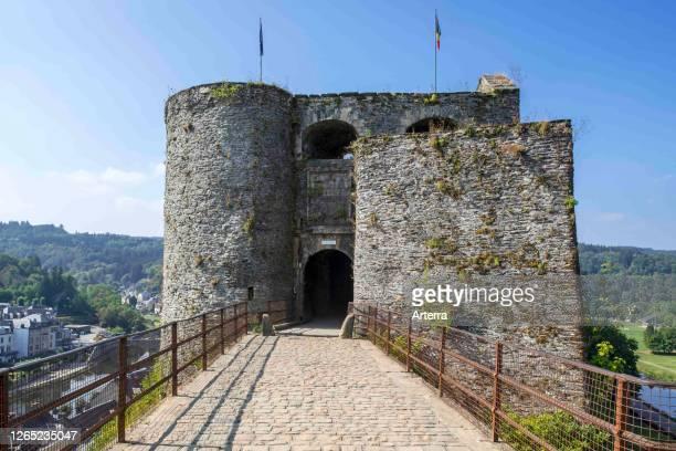 Entrance gate of the medieval Chateau de Bouillon Castle, Luxembourg Province, Belgian Ardennes, Belgium.