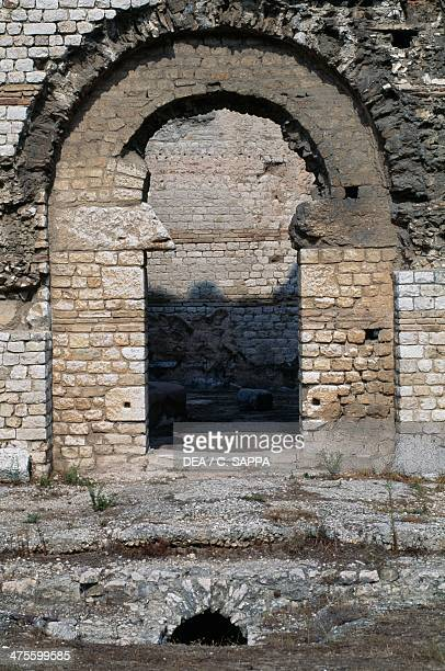 Entrance gate to the north baths archaeological site of Cimiez Nice ProvenceAlpesCote d'Azur France Roman civilisation 2nd3rd century