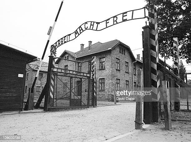 entrance gate with hypocritcal 'in work there is freedom' banner, birkenau concentration camp, auschwitz, poland - auschwitz stock pictures, royalty-free photos & images