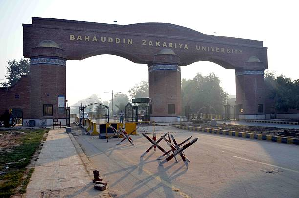 Entrance gates of the Bahauddin Zakariya University where the San Bernardino female shooter Tashfeen Malik studied for pharmacy in Multan Punjab...