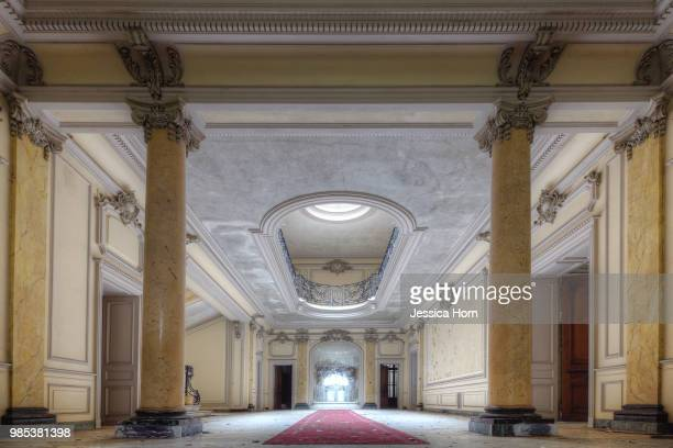 entrance hall at the abandoned chateau lumiere - mansion stock pictures, royalty-free photos & images