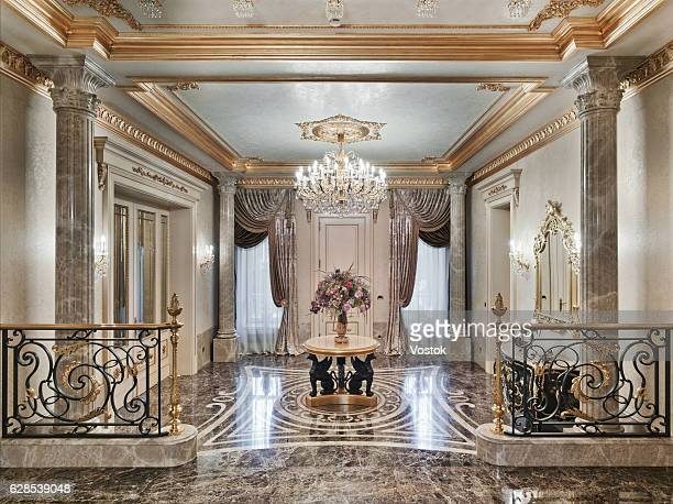entrance hall in the luxury house - palace stock pictures, royalty-free photos & images