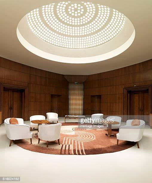 Entrance hall of Eltham Palace Greenwich London 2008 Light filters down from the glass domed roof illuminating the entrance hall Eltham was a royal...