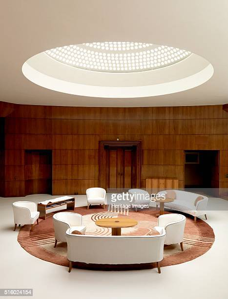 Entrance hall of Eltham Palace, Greenwich, London, 2008. Light filters down from the glass domed roof illuminating the entrance hall. Eltham was a...