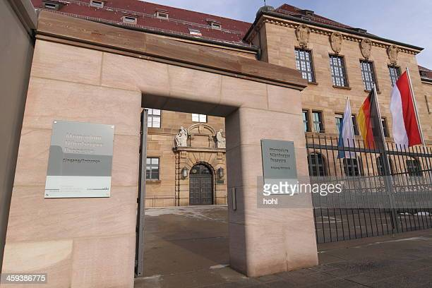 entrance historical courthouse - museum memorium nuremberg trials - nuremberg trials stock pictures, royalty-free photos & images