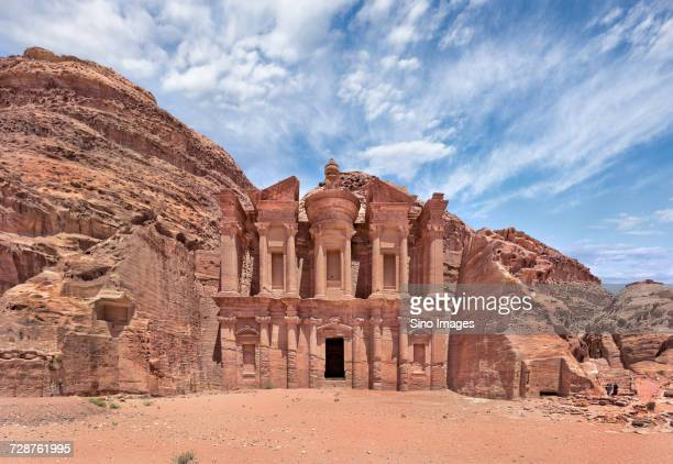 entrance in old ruins in rocks, petra, jordan - image stock pictures, royalty-free photos & images