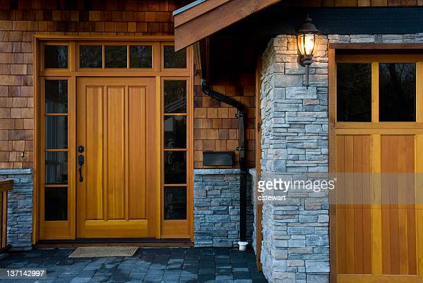entrance,  new west coast home - cedar tree stock photos and pictures