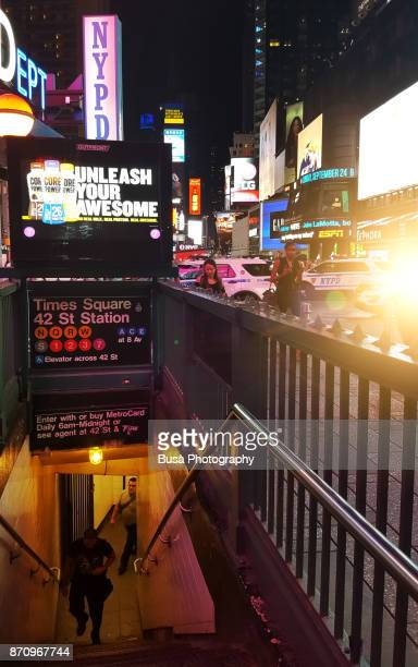 Entrance of 42nd Street Subway Station, in Times Square, Midtown Manhattan, New York City