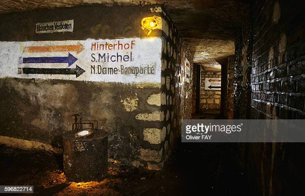 Entrance of a former German bunker during WWII in the quarries in the 6th district of Paris