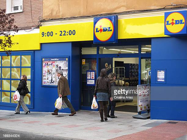 Entrance of a Lidl supermarket in a suburb of Madrid Lidl is German global discount supermarket chain that has had a great development in the last...