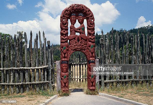 Entrance of a Pa Maori fortified village New Zealand